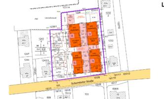 Lageplan mit den 4 Wohnhäusern
